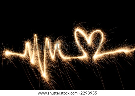 wave heart sparkler - stock photo