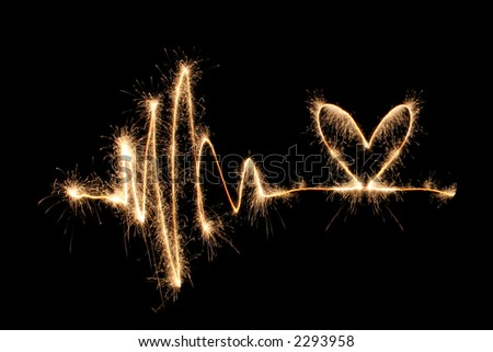 wave heart sparkler 2 - stock photo