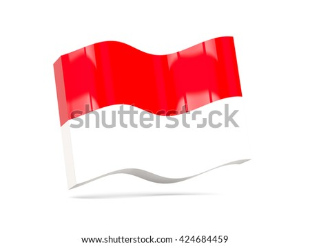 Wave icon with flag of indonesia. 3D illustration - stock photo