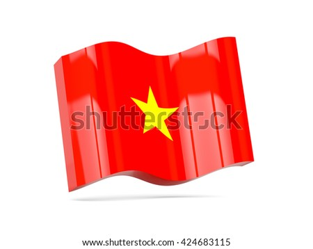 Wave icon with flag of vietnam. 3D illustration - stock photo