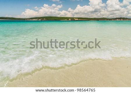 Wave in the lagoon of emerald sea, Antsiranana bay (Diego Suarez), north of Madagascar - stock photo