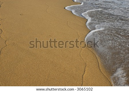 wave in the sand at the beach