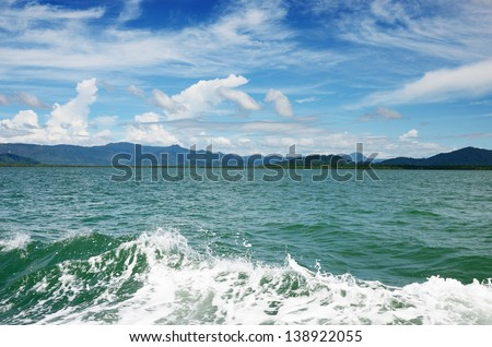 Wave in the sea with landscape background in Ranong, Thailand
