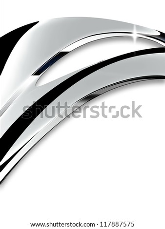 Wave of chrome on a white background - stock photo