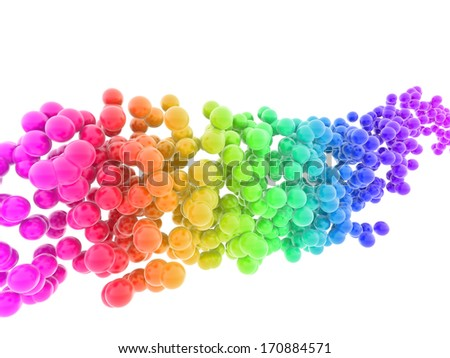 wave of multicolored bubbles isolated on white background
