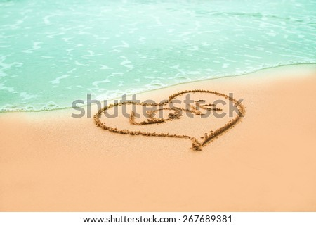wave of the love hart sea  - stock photo