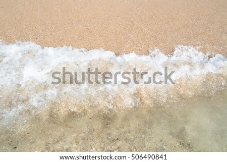 Wave of the sea on the sand beach. sand beach background ,beautiful beach surface texture.