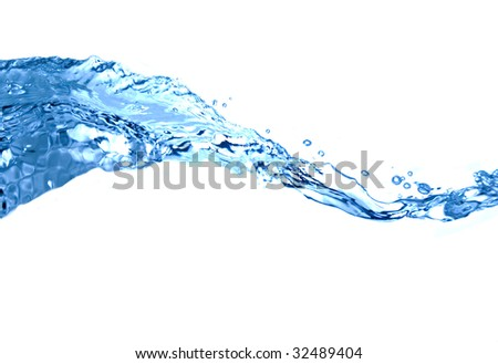 Wave of water on high key white background