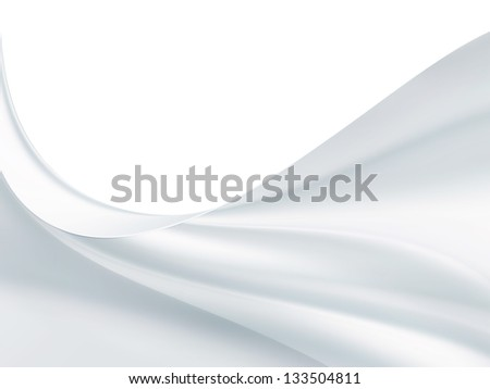 wave of white satin fabric as background - stock photo