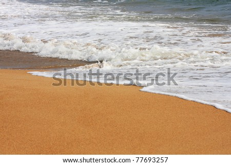 Wave on a sandy beach - stock photo