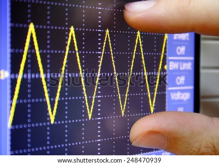 wave on oscilloscope - stock photo