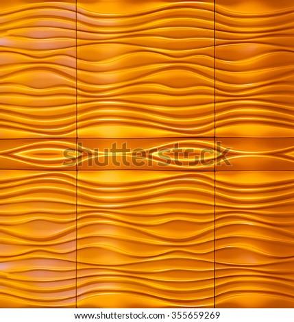 Wave orange yellow pattern wall abstract - stock photo