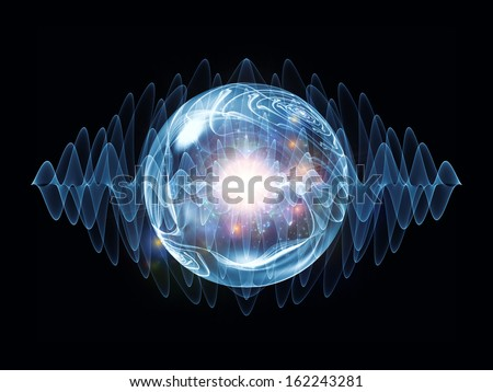 Wave Particle series. Backdrop of fractal spherical patterns and conceptual elements on the subject of science, technology, spirituality and design