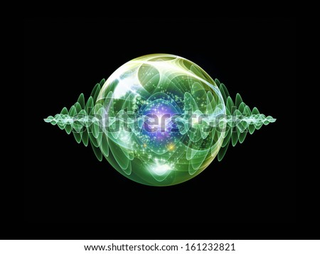 Wave Particle series. Composition of fractal spherical patterns and conceptual elements on the subject of science, technology, spirituality and design - stock photo