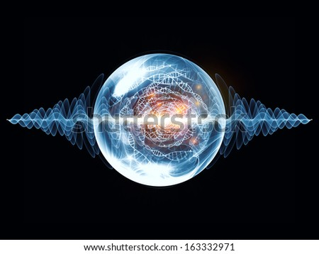 Wave Particle series. Creative arrangement of fractal spherical patterns and conceptual elements as a concept metaphor on subject of science, technology, spirituality and design - stock photo