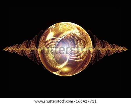 Wave Particle series. Design composed of fractal spherical patterns and conceptual elements as a metaphor on the subject of science, technology, spirituality and design - stock photo