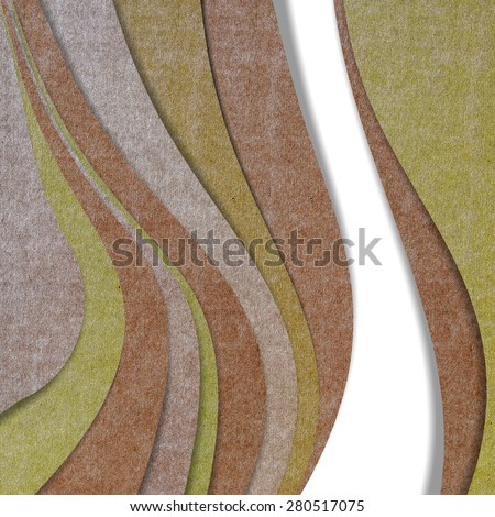 Wave recycled paper craft on white background, Brown color - stock photo