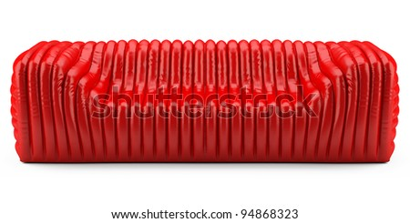 wave red sofa leather glossy - stock photo