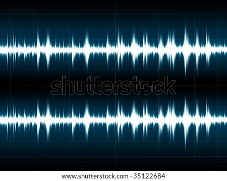 Wave Sound on the blue screen - stock photo