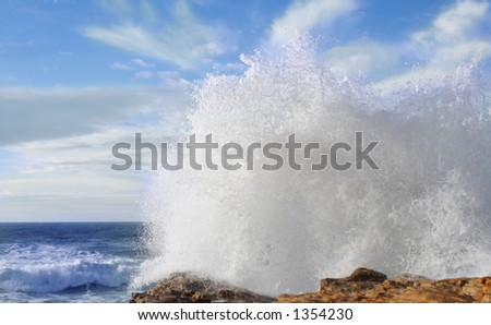 Wave splashing at Tarragona - stock photo