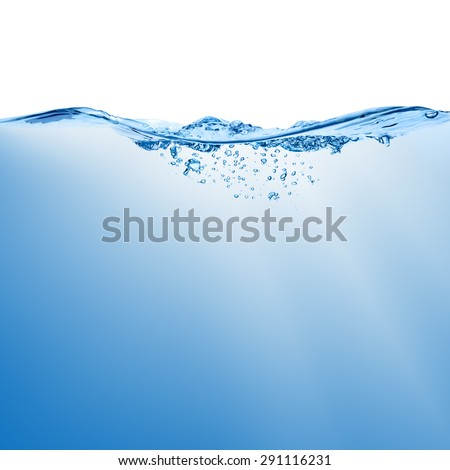Wave with splash on the water surface with bubbles of air, isolated on the white background. - stock photo