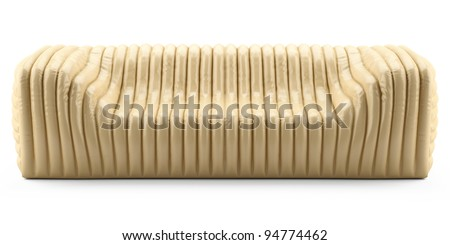 wave yellow sofa leather glossy - stock photo