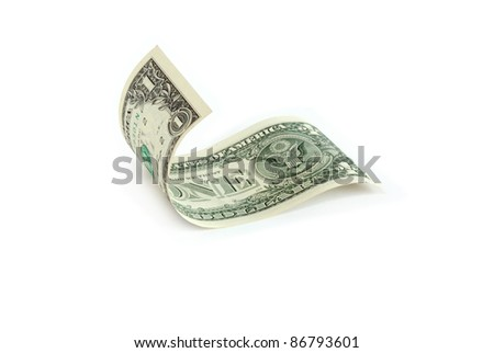 Waved one dollar bill on white background. Isolated with clipping path - stock photo