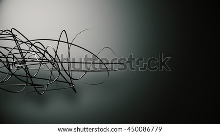 waved organic lines on gradient background, black colour and steel style - stock photo