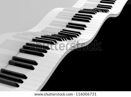 Waved piano keyboard. High resolution render - stock photo