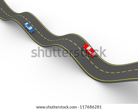 waved road with two cars. 3d illustration - stock photo