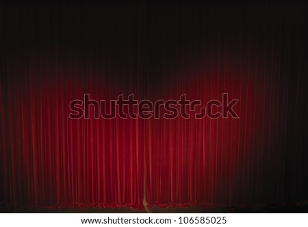 waved velvet theatre curtain - stock photo