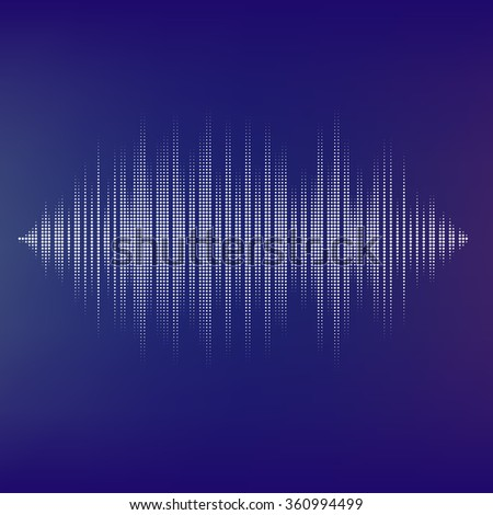 Waveform background  isolated. Black and white halftone sound waves. You can use in club, radio, pub, party, DJ, concerts, recitals or the audio technology advertising background.