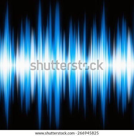 waveform blue lights with copy space - stock photo