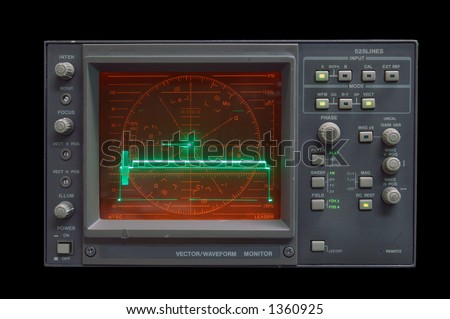 Waveform Monitor - audio vector/waveform monitor idling - clipping path included - stock photo