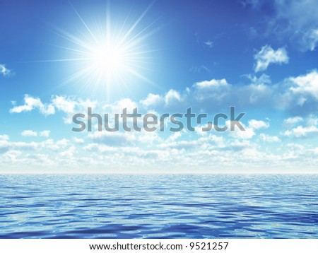 waves and clouds - stock photo