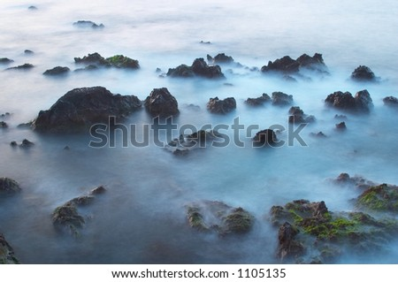 Waves and rocks 2 - stock photo