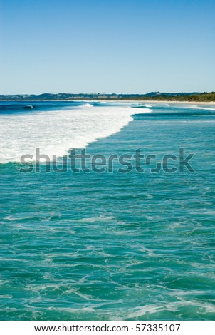 Waves approaching the coastline at Brunswick Heads, in Northern New South Wales, Australia