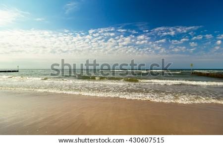 Waves at Baltic Sea beach, Poland - stock photo