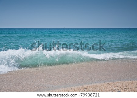 waves at coast of the Mediterranean sea