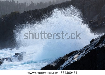Waves breaking on the Newfoundland coastline. - stock photo