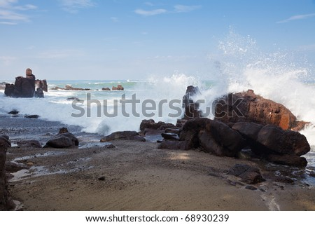 Waves breaking on the shore near Puerto Vallarta, Mexico - stock photo