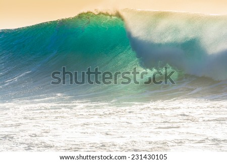 Waves breaking on the shore of Madeira, Portugal - stock photo