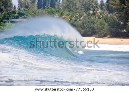 Waves breaking on the shore of Maui - stock photo