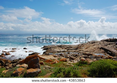 Waves breaking over rocks, Mossel Bay, South Africa