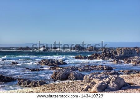 Waves Crash Ashore at Pacific Grove California - stock photo