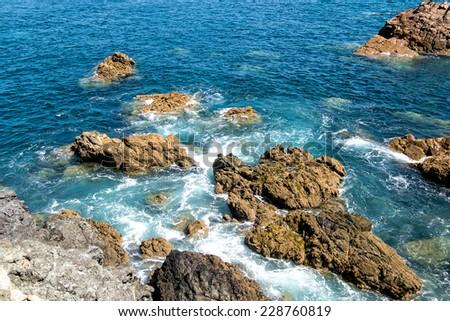 Waves Crashing Against the Rocks, Atlantic ocean - stock photo