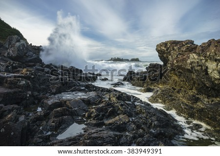 Waves Crashing at Pettinger Point, Cox Bay, Pacific Rim National Park, Tofino, Ucluelet, Vancouver Island,  British Columbia, Canada - stock photo