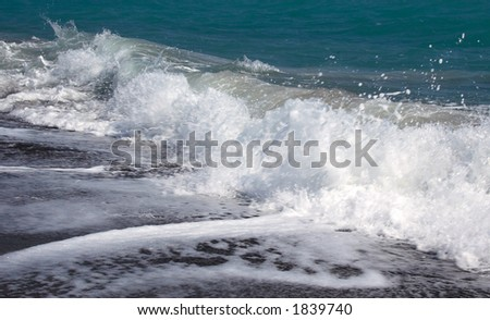 waves crashing on the shore