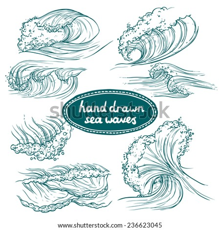 Waves flowing water hand drawn sea ocean icons set isolated  illustration - stock photo