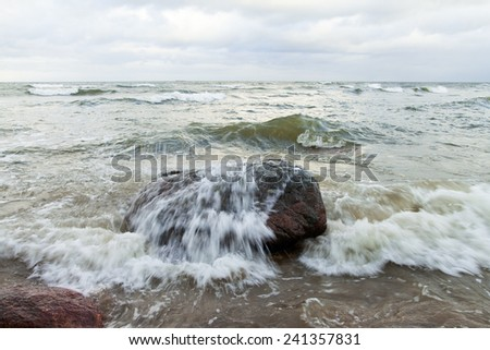 Waves in stormy Baltic sea.